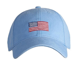 AMERICAN FLAG ON LIGHT BLUE HAT